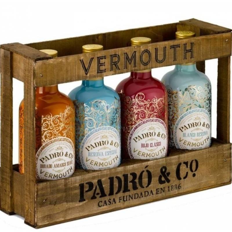 Caja de madera Vermouth Padró & Co. de 4 botellas