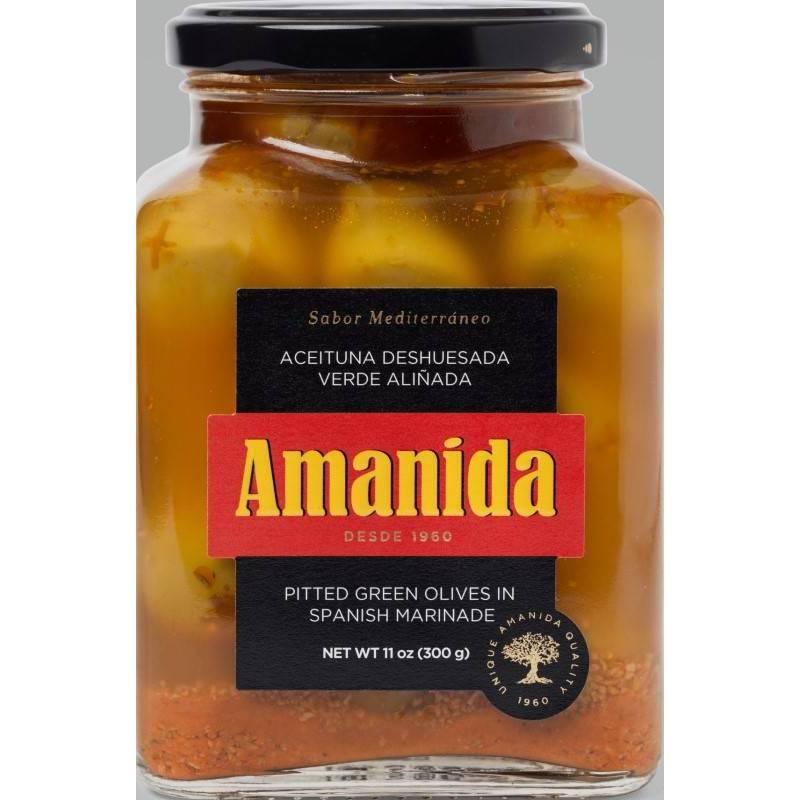 Aceituna Deshuesada Verde aliñada Amanida (tarro crital 580gr)